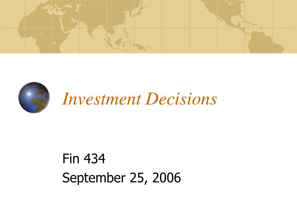 investment decisions l.