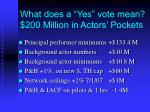 what does a yes vote mean 200 million in actors pockets