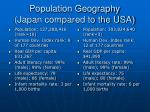 population geography japan compared to the usa