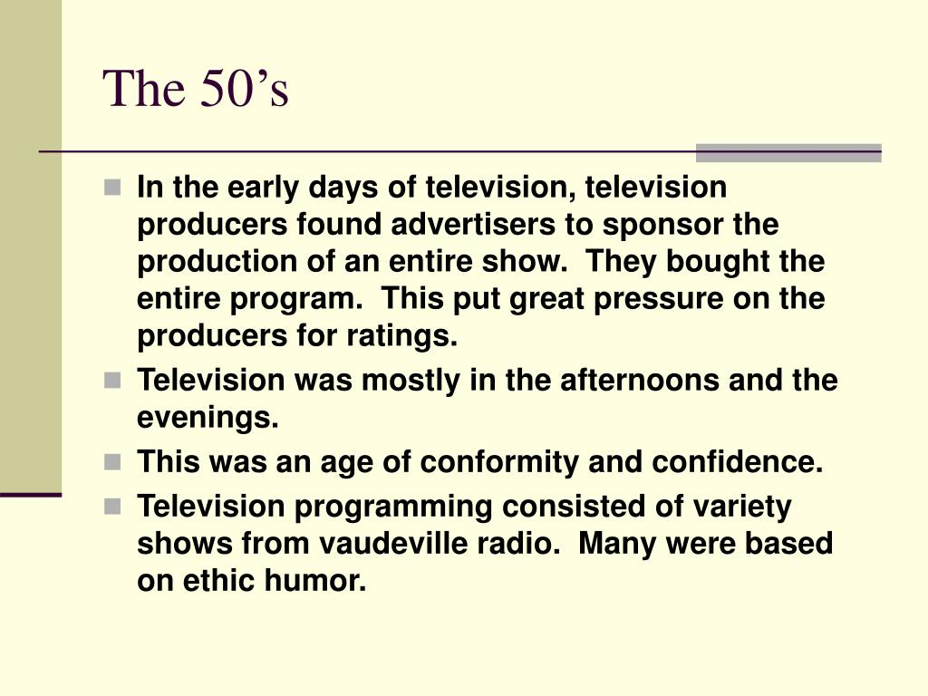 The 50's
