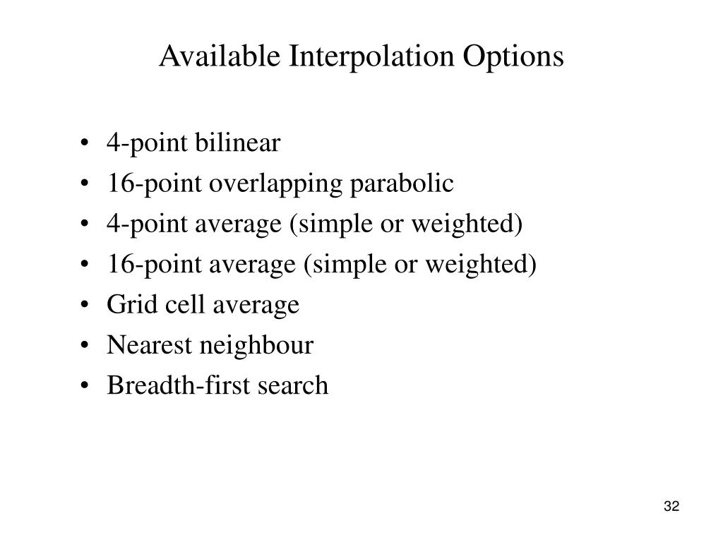 Available Interpolation Options