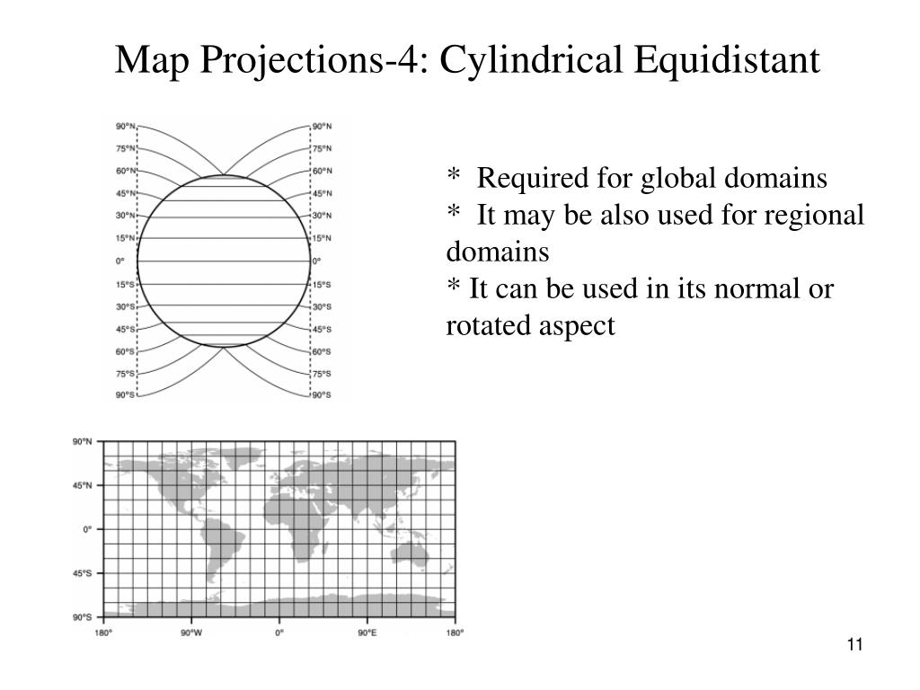 Map Projections-4: Cylindrical Equidistant