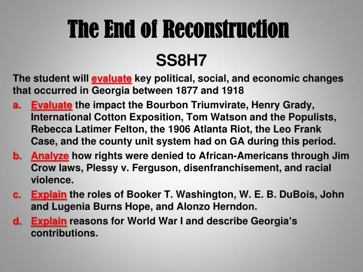 end of reconstruction The compromise of 1877 was a purported informal vincent p rutherford b hayes and the removal of the troops and the end of reconstruction in region.