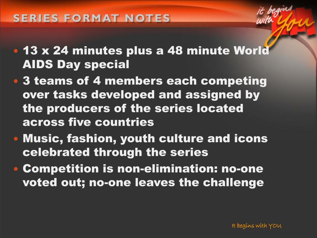 SERIES FORMAT NOTES
