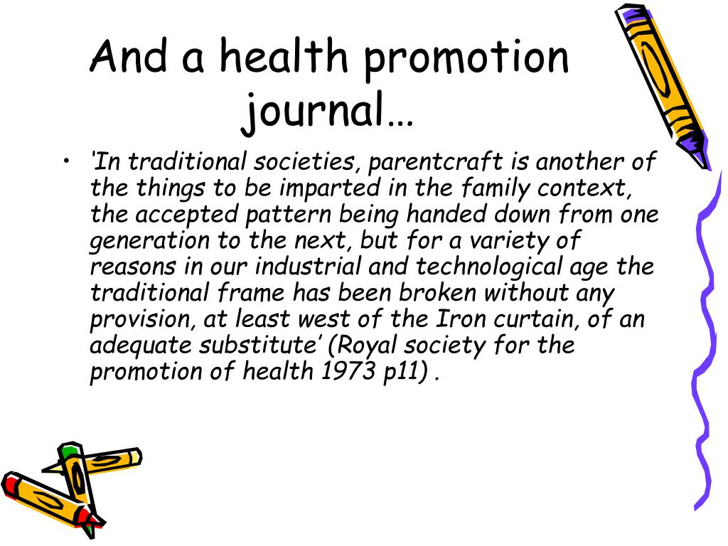 And a health promotion journal…