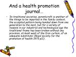 and a health promotion journal
