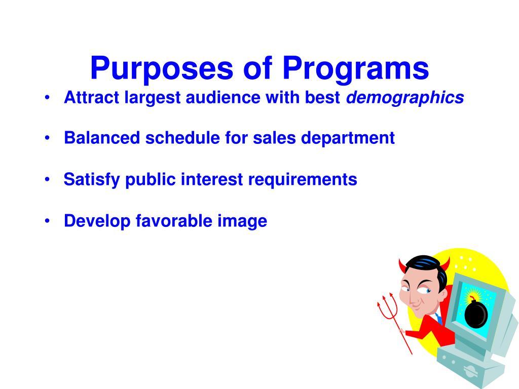 Purposes of Programs
