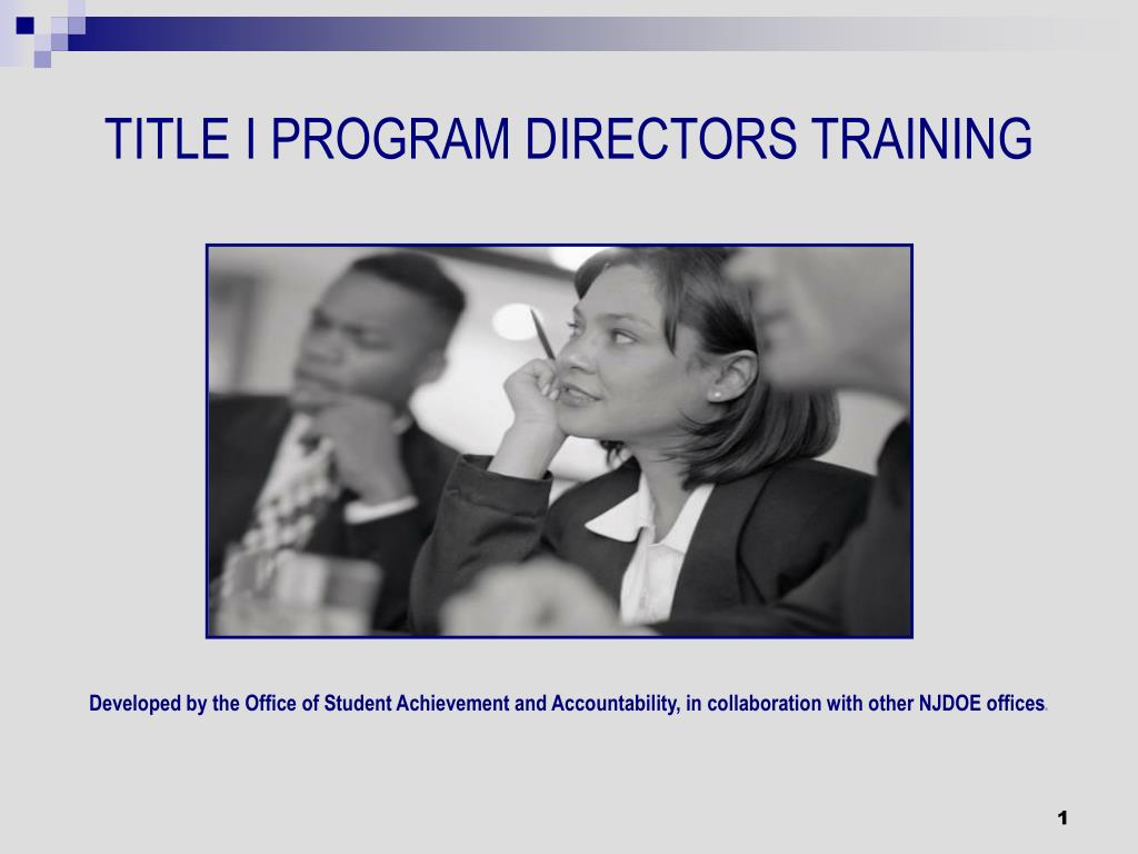 title i program directors training l.