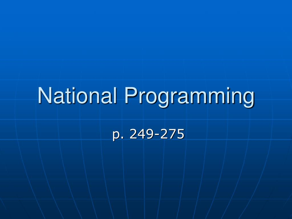 national programming l.