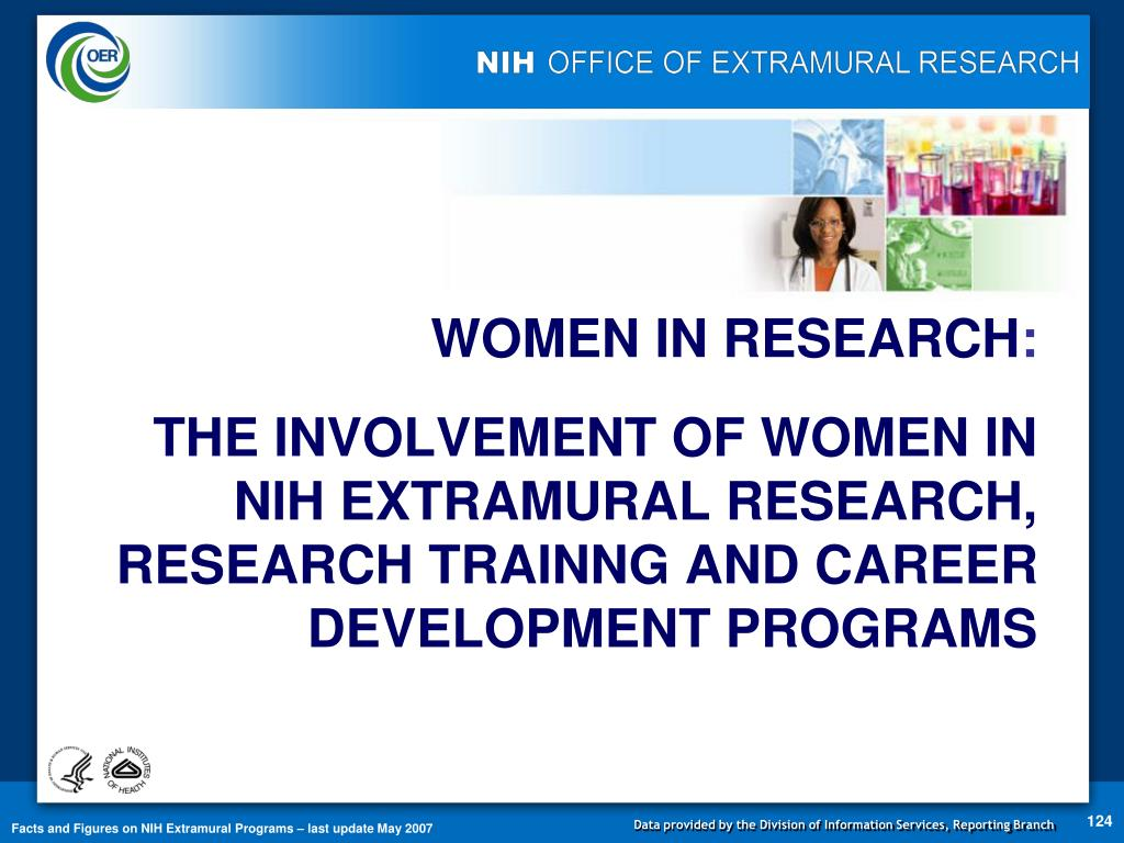THE INVOLVEMENT OF WOMEN IN NIH EXTRAMURAL RESEARCH, RESEARCH TRAINNG AND CAREER DEVELOPMENT PROGRAMS