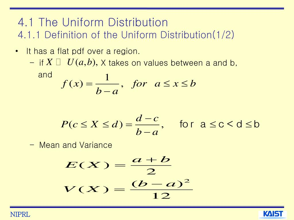 4.1 The Uniform Distribution