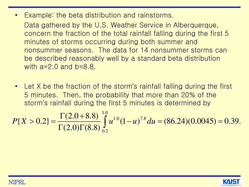 Example: the beta distribution and rainstorms.