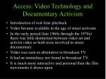 access video technology and documentary activism