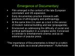 emergence of documentary