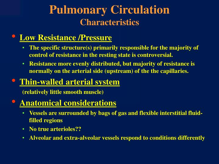 Pulmonary circulation characteristics