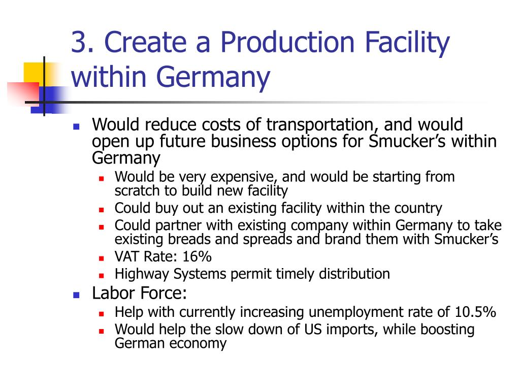 3. Create a Production Facility within Germany