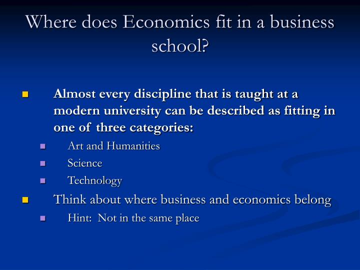 where does economics fit in a business school n.