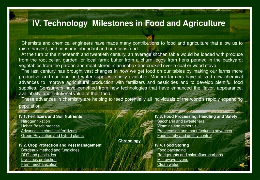 iv technology milestones in food and agriculture l.