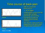 time course of back pain