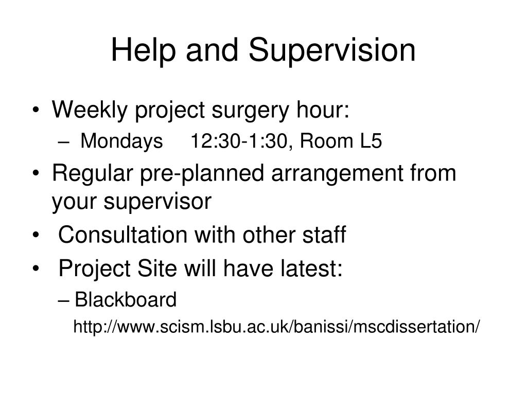 Help and Supervision