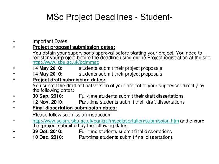 Msc dissertation marking scheme