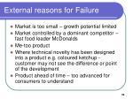 external reasons for failure