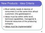 new products idea criteria