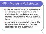 npd markets marketplaces