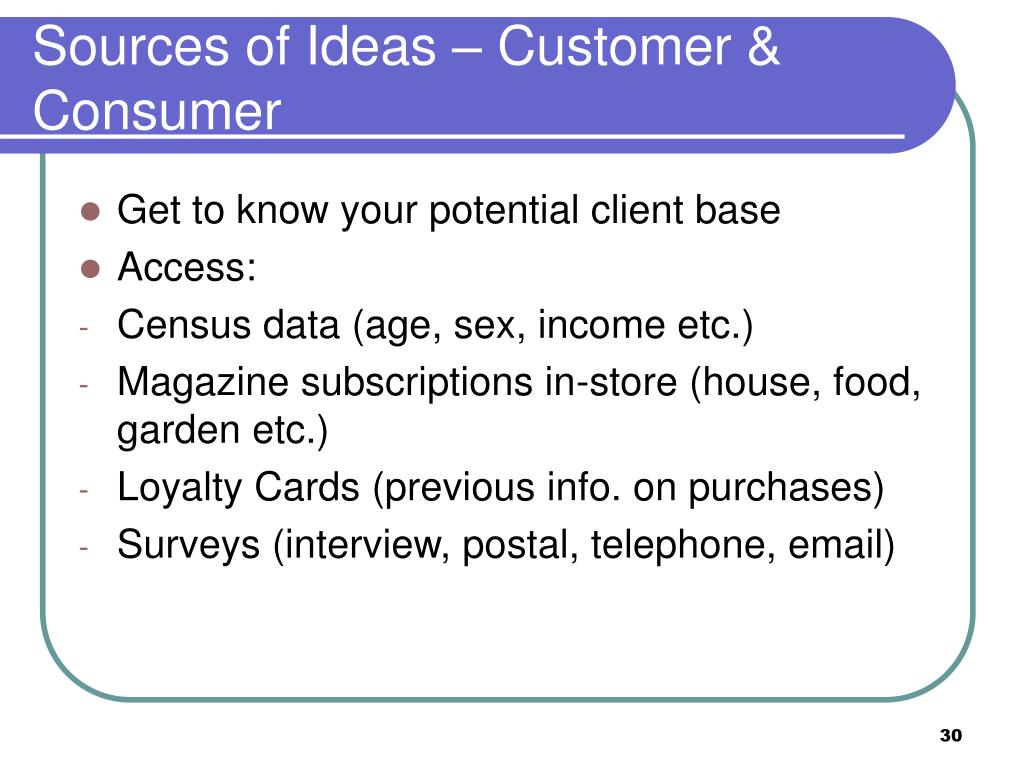 Sources of Ideas – Customer & Consumer