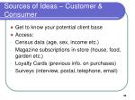 sources of ideas customer consumer