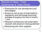 sources of ideas food conferences trade shows