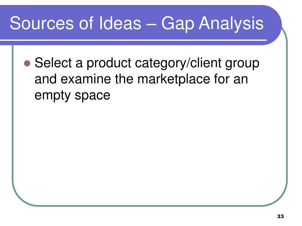 Sources of Ideas – Gap Analysis