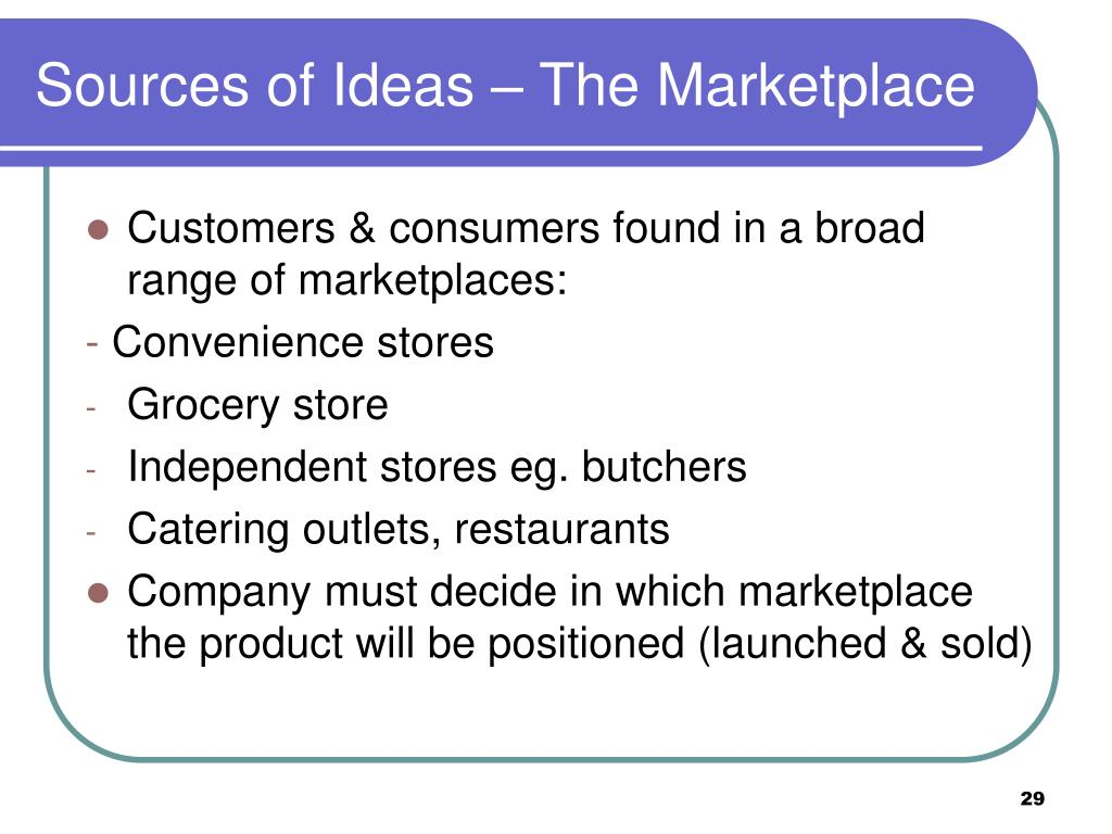 Sources of Ideas – The Marketplace