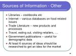 sources of information other
