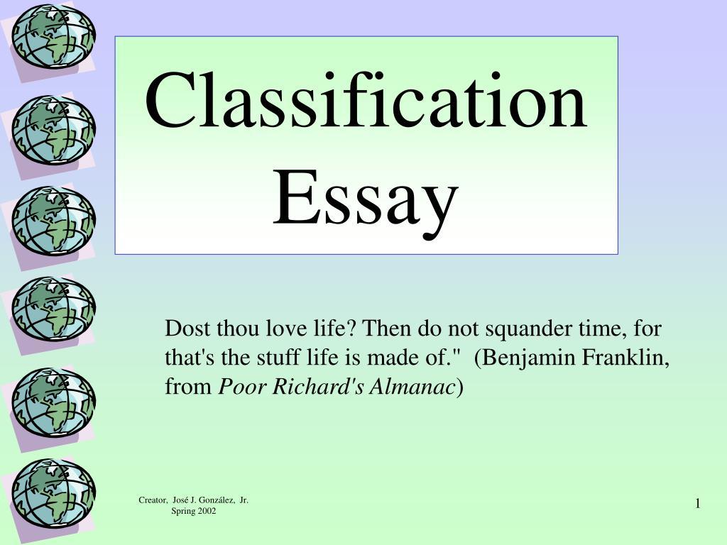 classification essay l.