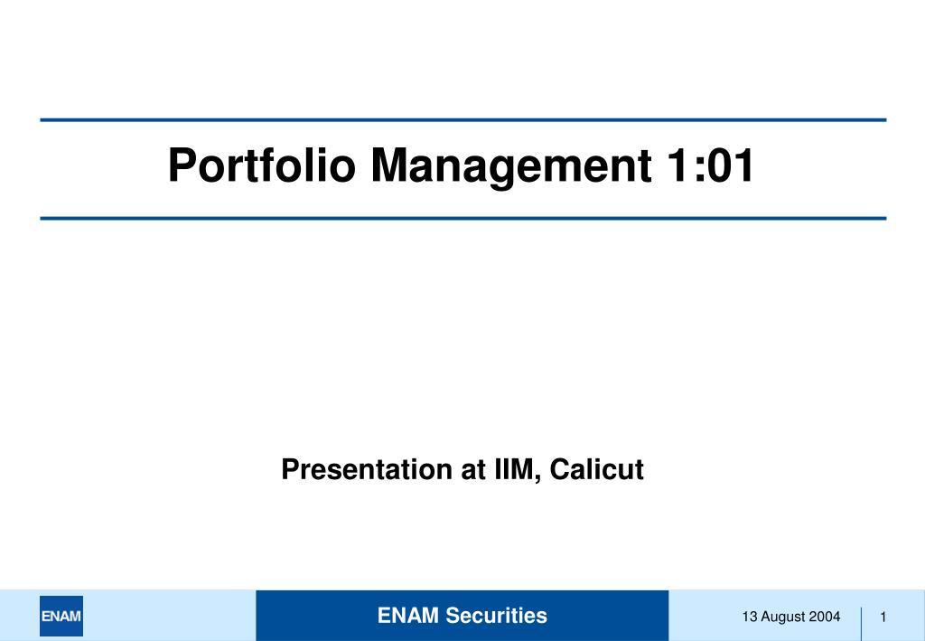 portfolio management 1 01 l.