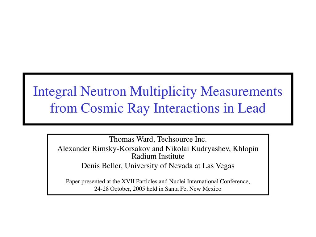 integral neutron multiplicity measurements from cosmic ray interactions in lead l.