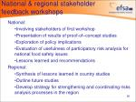national regional stakeholder feedback workshops