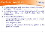 stakeholder workshops