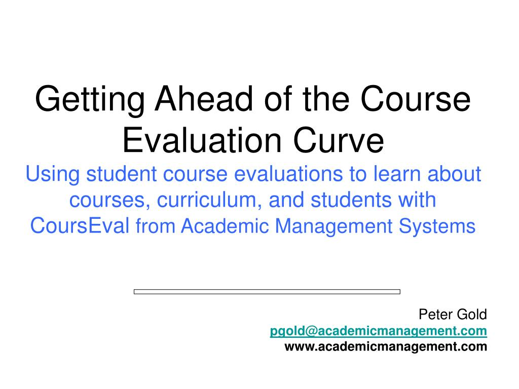 Getting Ahead of the Course Evaluation Curve