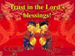 trust in the lord s blessings