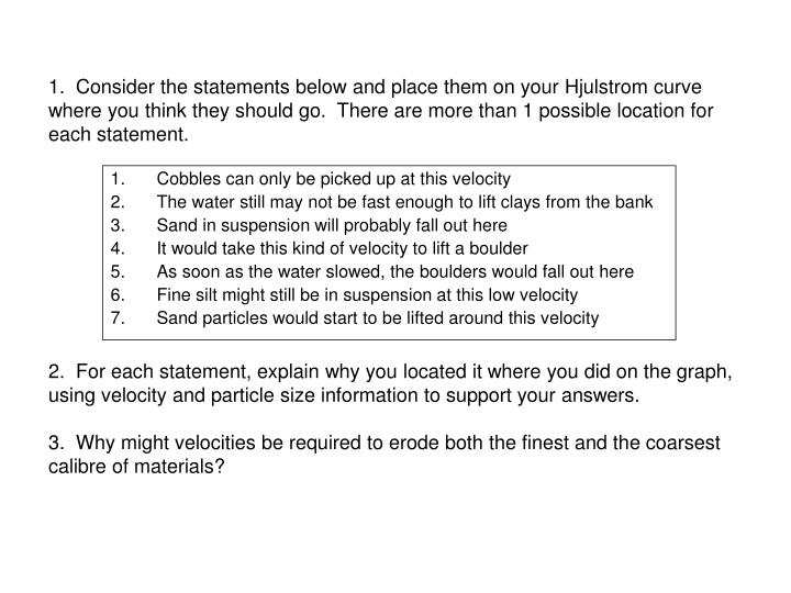 Ppt lo to understand the river processes and the hjulstrom curve there are more than 1 possible location for each statement2 for each statement explain why you located it where you did on the graph ccuart Gallery