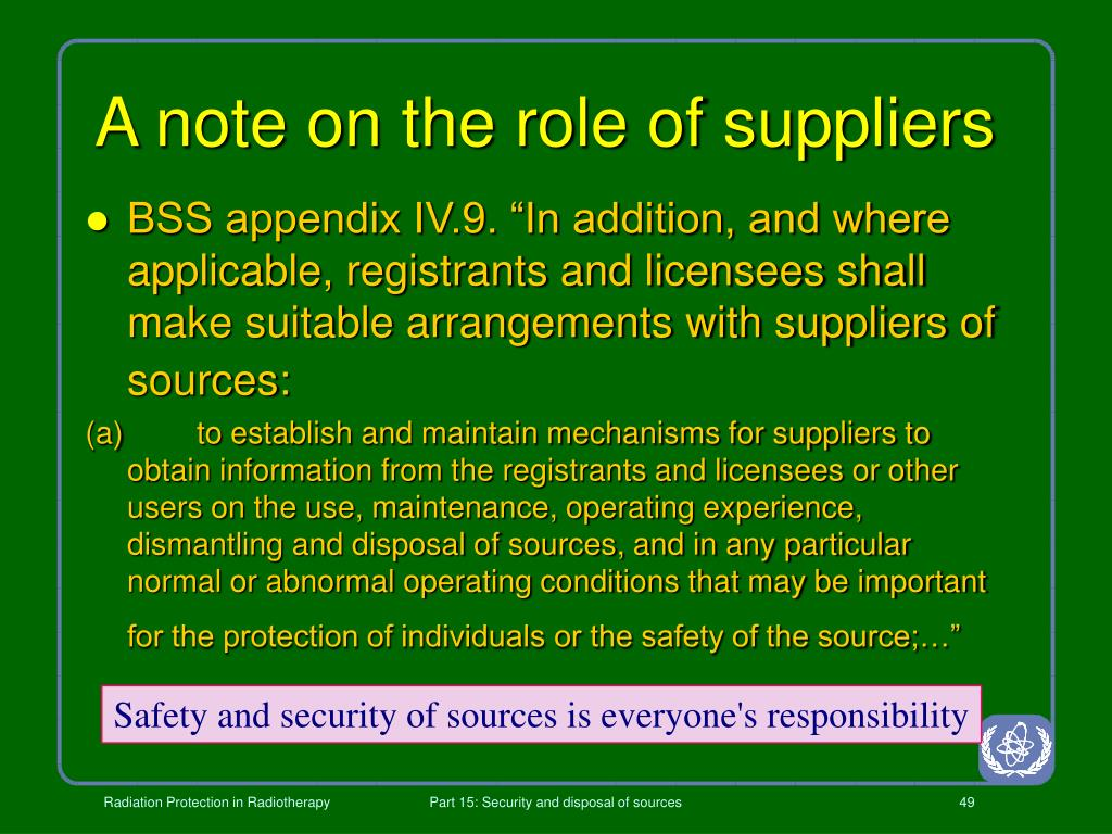 A note on the role of suppliers