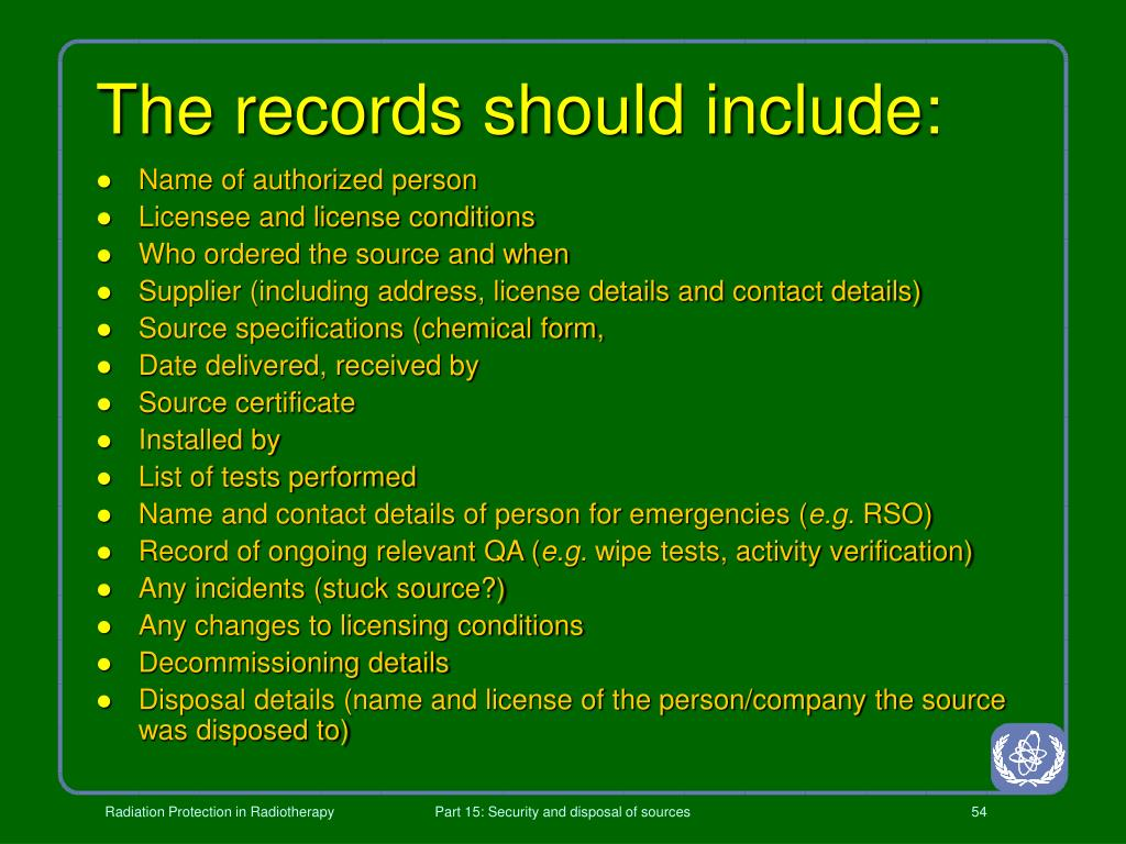 The records should include: