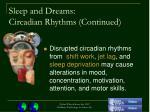 sleep and dreams circadian rhythms continued