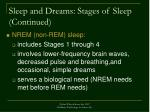 sleep and dreams stages of sleep continued