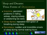 sleep and dreams three forms of dyssomnias
