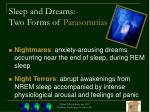 sleep and dreams two forms of parasomnias