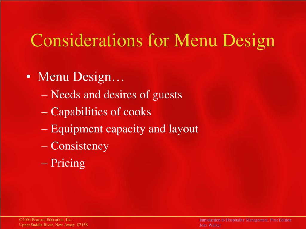 Considerations for Menu Design