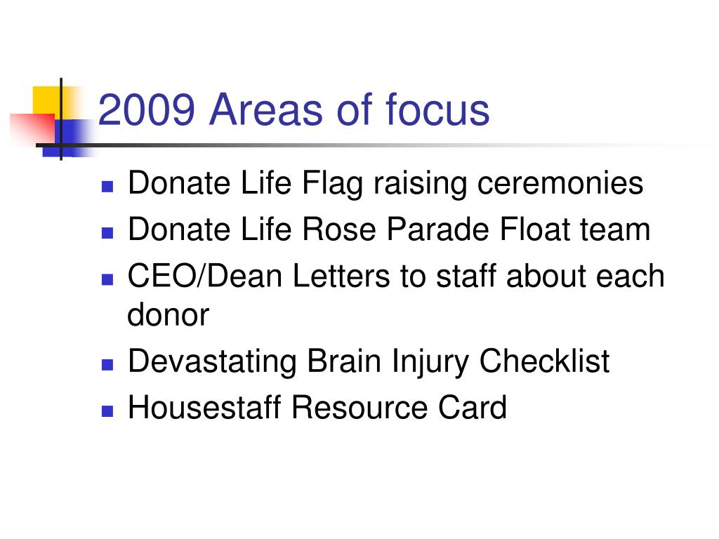 2009 Areas of focus